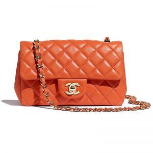 Chanel Women Mini Flap Bag in Lambskin Leather-Orange