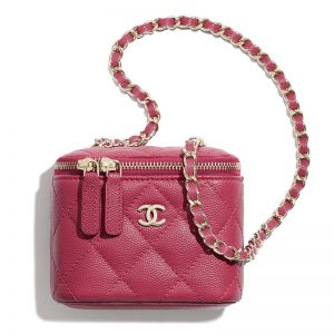 Chanel Women Mini Vanity with Classic Chain Grained Calfskin Leather
