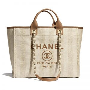 Chanel Women Shopping Bag in Mixed Fibers-Beige