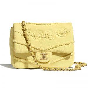 Chanel Women Small Flap Bag Denim & Gold-Tone Metal-Yellow