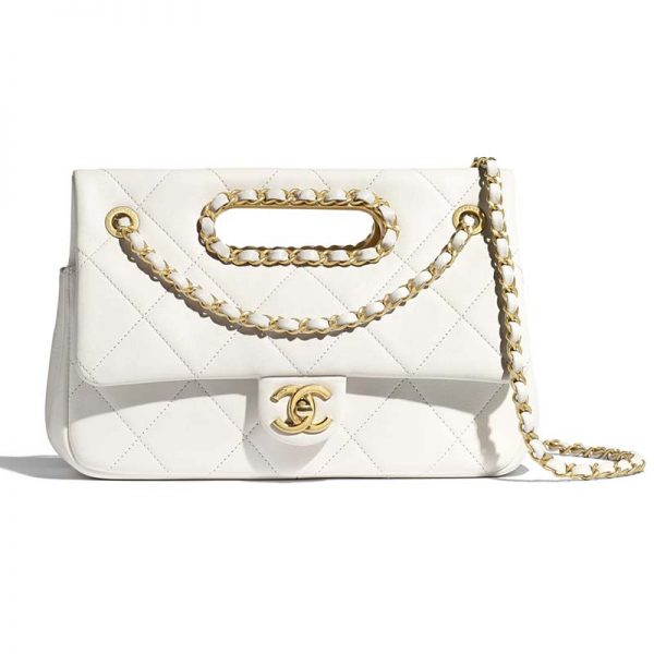Chanel Women Small Flap Bag in Lambskin Leather-White