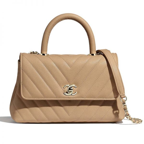 Chanel Women Small Flap Bag with Top Handle Grained Calfskin-Beige