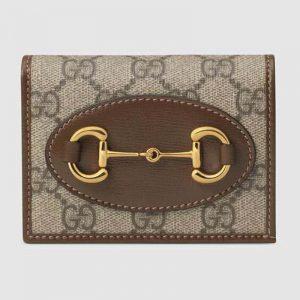 Gucci GG Unisex Gucci 1955 Horsebit Card Case Wallet Supreme Canvas