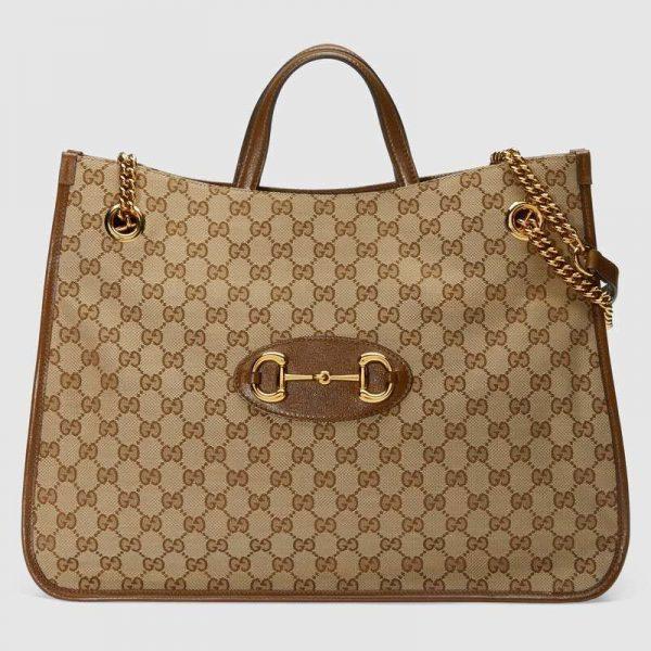 Gucci GG Unisex Gucci 1955 Horsebit Large Tote Bag-Brown