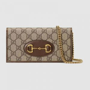Gucci GG Unisex Gucci 1955 Horsebit Wallet with Chain-Brown