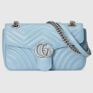 Gucci GG Women GG Marmont Small Shoulder Bag Matelassé Chevron-Blue