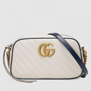 Gucci GG Women GG Marmont Small Shoulder Bag White Diagonal Matelassé
