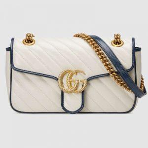 Gucci GG Women GG Marmont Small Shoulder Bag White Diagonal Matelassé Quilted