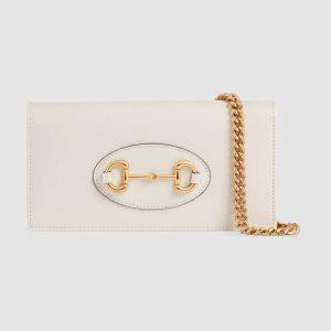Gucci GG Women Gucci 1955 Horsebit Wallet with Chain-White