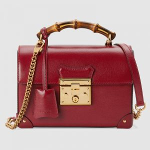 omen Padlock Small Bamboo Shoulder Bag Textured Leather-Red