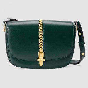 Gucci GG Women Sylvie 1969 Small Shoulder Bag Textured Leather-Dark Green