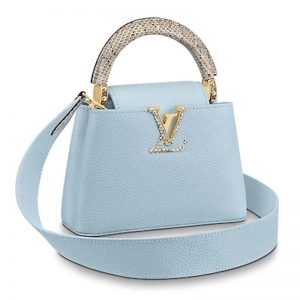 Louis Vuitton LV Women Capucines Mini Handbag Taurillon Ayers Snakeskin-Blue