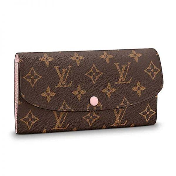 Louis Vuitton LV Women Emilie Wallet in Coated Canvas-PInk