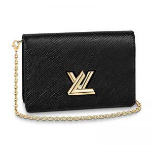 Louis Vuitton LV Women Twist Belt Chain Wallet Black Epi Leather
