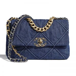 Chanel Women Chanel 19 Flap Bag Denim Blue Fabrics