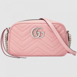 Gucci GG Women GG Marmont Small Shoulder Bag Matelassé Chevron Leather-Pink