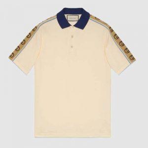 Gucci GG Men Polo with Interlocking G Stripe White Cotton