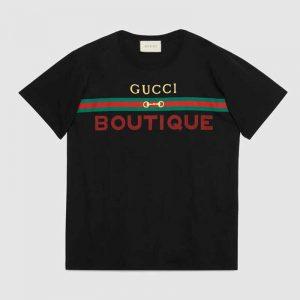 Gucci GG Men's Gucci Boutique Print Oversize T-Shirt-Black