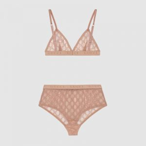 Gucci GG Tulle Lingerie Set GG Embroidered Tulle in Cotton-Sandy