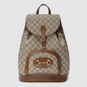 Gucci GG Unisex Gucci 1955 Horsebit Backpack BeigeEbony Supreme Canvas