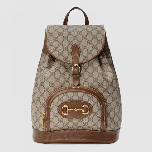 Gucci GG Unisex Gucci 1955 Horsebit Backpack BeigeEbony Supreme Canvas