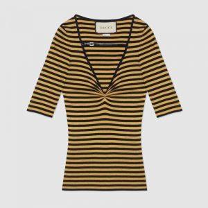 Gucci GG Women Fine Viscose V-Neck Short Sleeve Top-Yellow