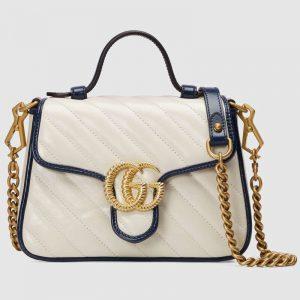 Gucci GG Women GG Marmont Mini Top Handle Bag-White