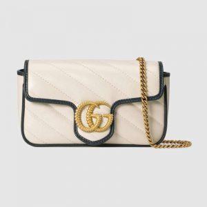 Gucci GG Women GG Marmont Super Mini Bag White Diagonal Matelassé
