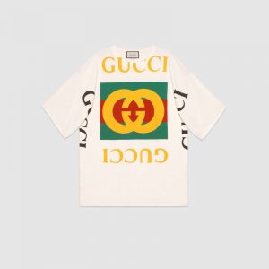Gucci GG Women Oversize T-Shirt with Gucci Logo-White