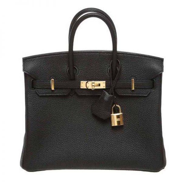 Hermes Birkin 25 Bag in Togo Leather with Gold Hardware-Black
