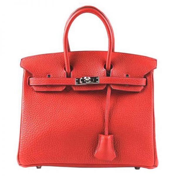 Hermes Birkin 25 Bag in Togo Leather with Gold Hardware-Red