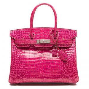 Hermes Birkin 30 Bag in Alligator Leather with Gold Hardware-Rose