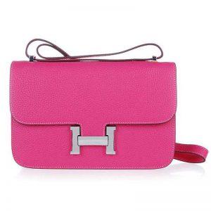 Hermes Constance Elan Leather Shoulder Bag in Epsom Leather-Rose