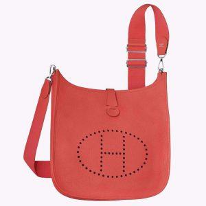 Hermes Evelyne III 33 Large Model Bag in Calfskin-Red