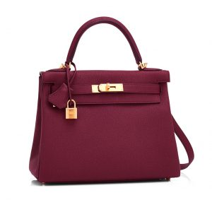 Hermes Kelly Sellier 32 Bag in Togo Leather-Purple