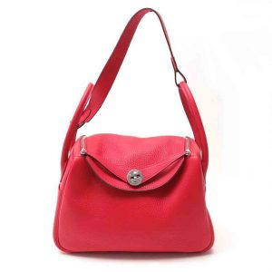 Hermes Lindy 30 Medium Taurillon Clemence Leather Bag-Red