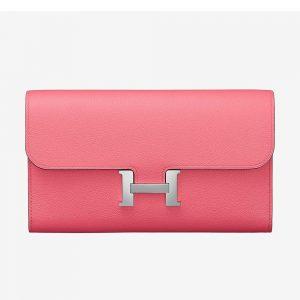 Hermes Women Constance Long Wallet in Calfskin Leather-Pink