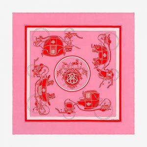 Hermes Women Ex-Libris Scarf 90-Pink