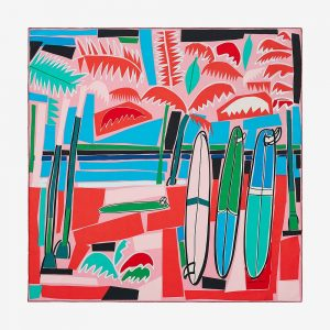 Hermes Women Sea Surf and Fun Scarf 90-Red
