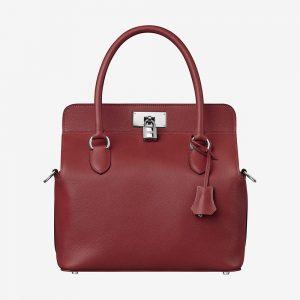 Hermes Women Toolbox 26 Bag in Calfskin Leather-Maroon