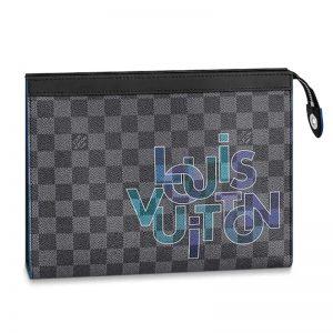 Louis Vuitton LV Unisex Pochette Voyage MM Damier Graphite Canvas-Blue