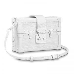 Louis Vuitton LV Women Petite Malle Handbag Epi Leather-White