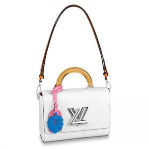 Louis Vuitton LV Women Twist MM Deep-Dyed Epi Leather-White