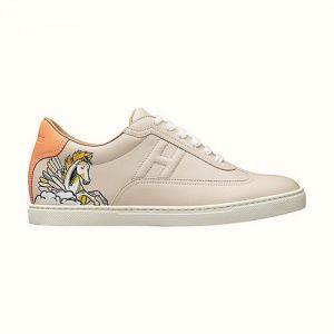 "Hermes Women Quicker Sneaker Calfskin""Pgase Pop"" Print Iconic ""H"""