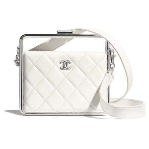 Chanel Women Clutch Lambskin & Silver-Tone Metal-White