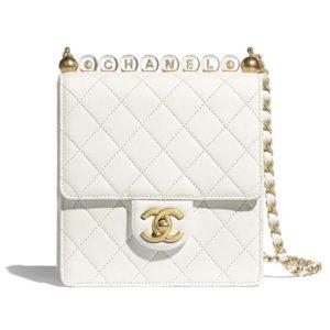 Chanel Women Flap Bag Goatskin Acrylic Beads & Gold-Tone Metal
