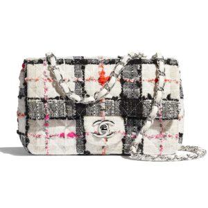 Chanel Women Mini Flap Bag Tweed & Silver-Tone Metal-White