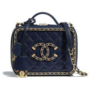 Chanel Women Small Vanity Case Goatskin & Gold-Tone Metal-Navy