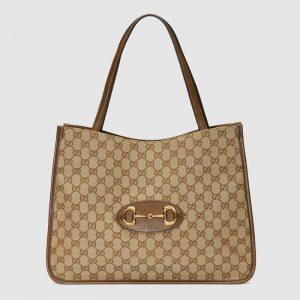 Gucci GG Unisex Gucci 1955 Horsebit Tote Bag Original GG Canvas