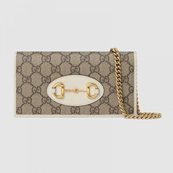 Gucci GG Unisex Gucci 1955 Horsebit Wallet with Chain-White